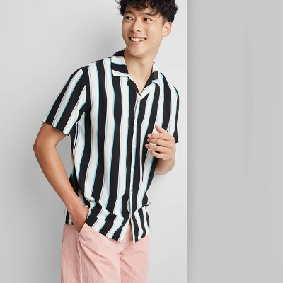 Adult Regular Fit Striped Short Sleeve Button-Down Shirt - Original Use™ Aqua