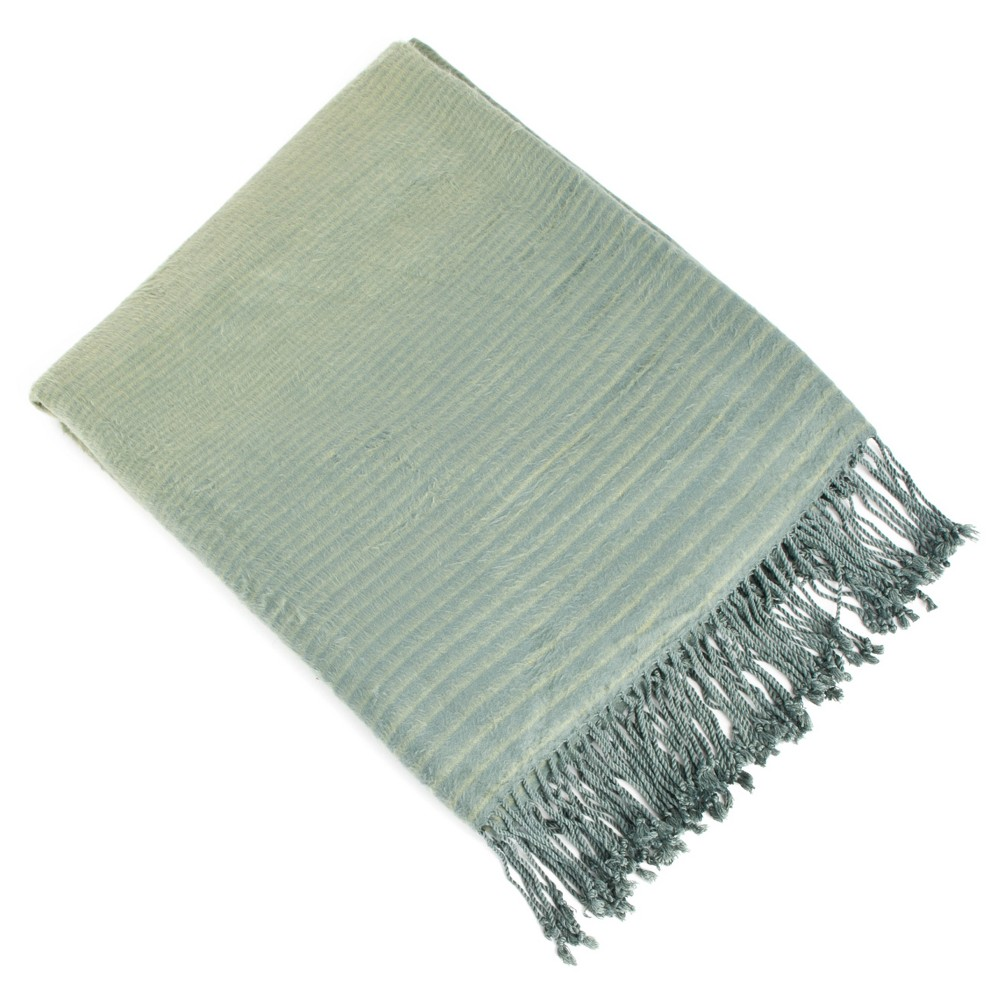 """Image of """"Grass Green Striped Design Rayon Made From Bamboo Throw (50""""""""X60"""""""")"""""""