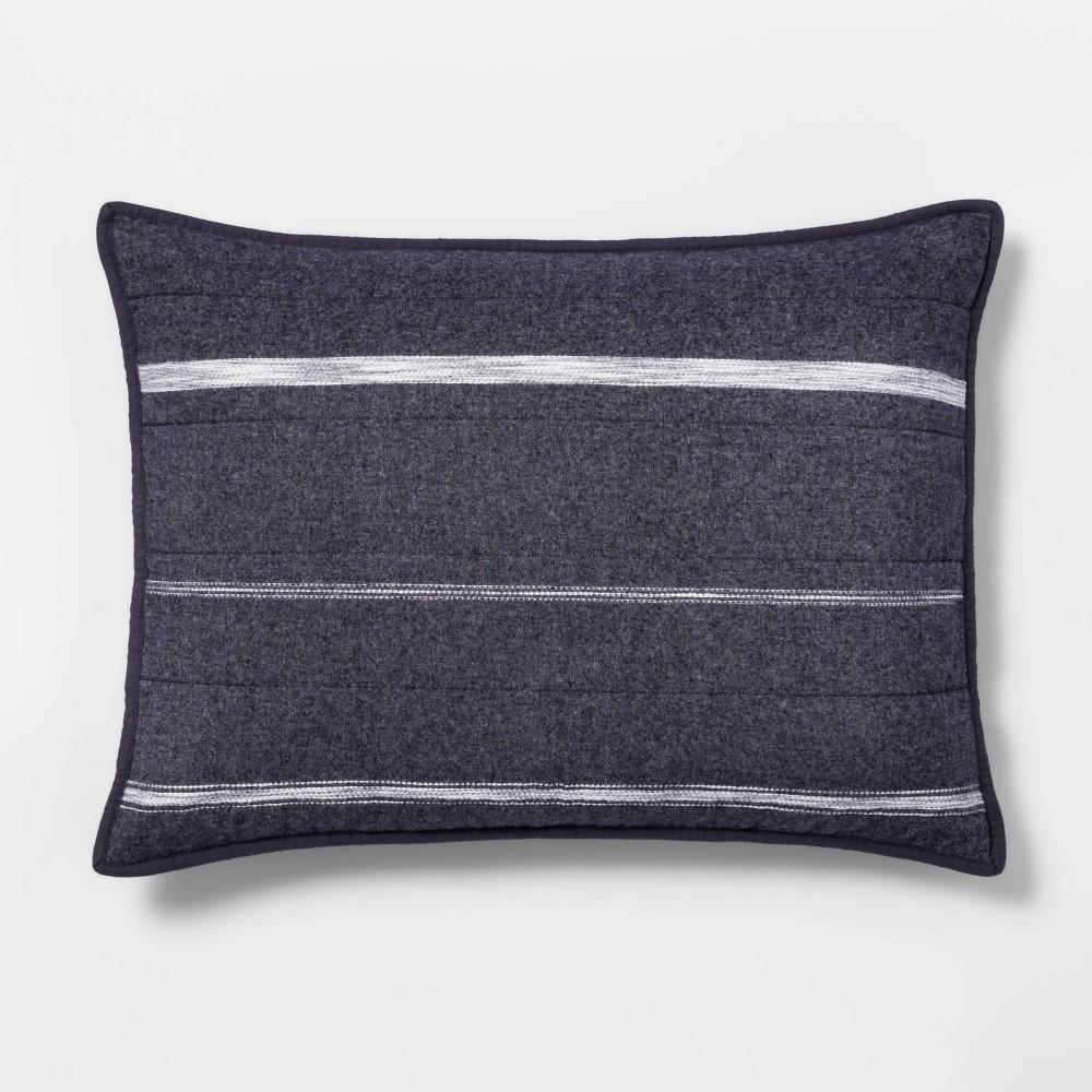 Compare Textured Stripe Flannel Quilt Sham  - Threshold™