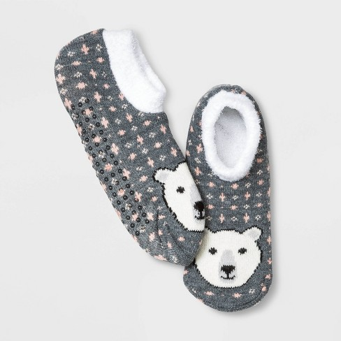 Women's Polar Bear Double Lined Cozy Booties - A New Day™ Heather Gray 4-10 - image 1 of 1