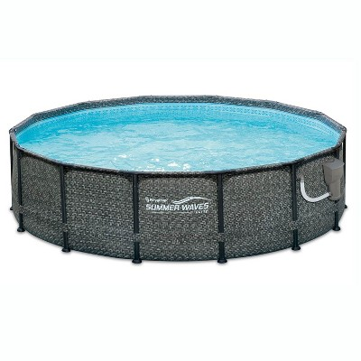 Summer Waves P2001448E14ft x 48in Outdoor Round Frame Above Ground Swimming Pool Set with Ladder, Skimmer Filter Pump, and Filter Cartridge, Gray