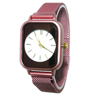 Olivia Pratt Square Face Mesh Fashion Watch with Magnetic Closure