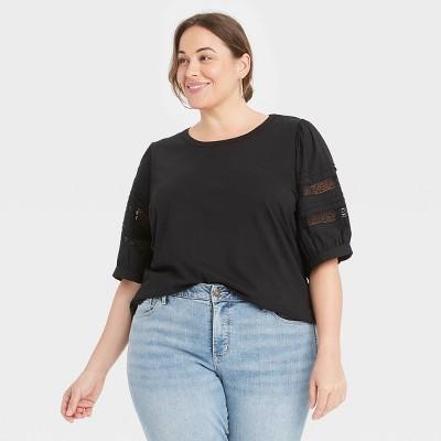 Women's Plus Size Elbow Sleeve Lace Puff Sleeve Knit Blouse - Ava & Viv™