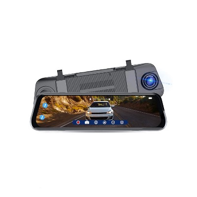 SYLVANIA RDSGHT_MIR.BX Roadsight 1080p HD Rearview Mirror Dash and Backup Camera w/ 340 Degree View, Touch Screen Display, & 32GB Memory Card, Black