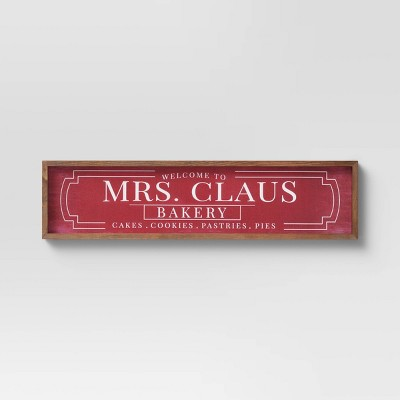 """28"""" x 7"""" Mrs. Claus Wall Sign Panels Red - Threshold™"""