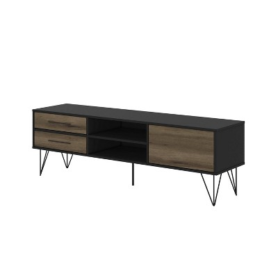 """Wood and Metal TV Entertainment Stand with 4 Drawers for TVs up to 60"""" Brown/Black - The Urban Port"""
