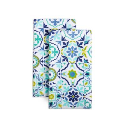 2pk Cotton Worn Tiles Kitchen Towels - Fiesta