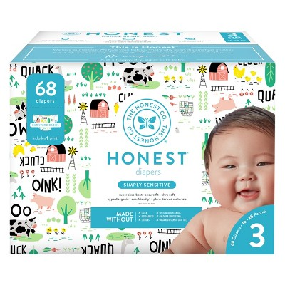 Honest Company Diapers Club Pack, Barnyard Babies - Size 3 (68ct)