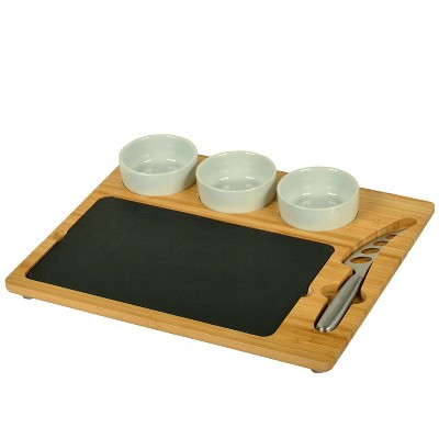 Picnic at Ascot Bamboo Cheese Board with 3 Ceramic Bowls, Bamboo Spoons, Stainless Steel Cheese Tools & Cheese Markers