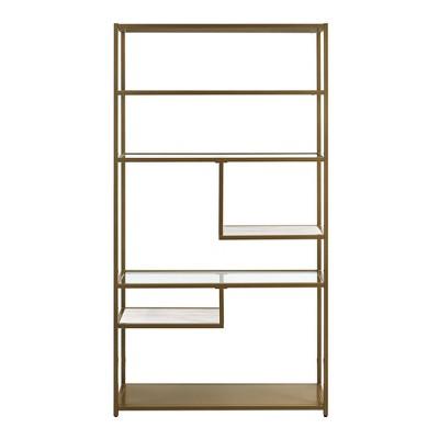 Eos Geometric Bookcase Etagere 72  Brass - Dorel Living