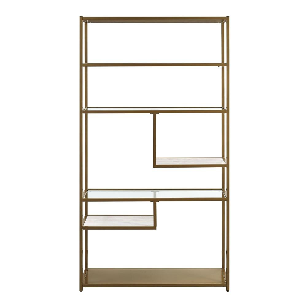 "Image of ""Eos Geometric Bookcase Etagere 72"""" Brass - Dorel Living"""