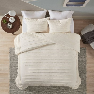 Full/Queen 3pc Cotton Chenille Comforter Set Ivory