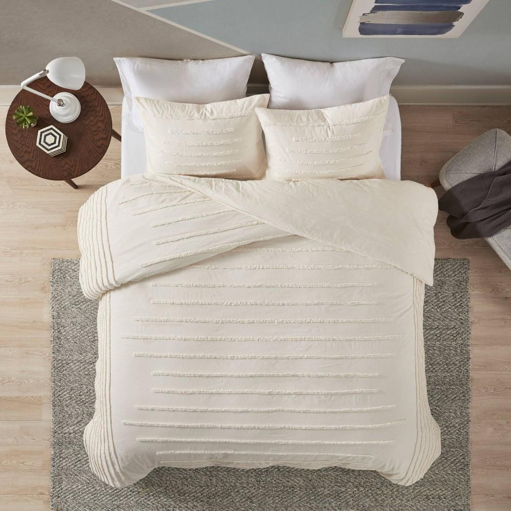 King California King 3pc Cotton Chenille Comforter Set Ivory