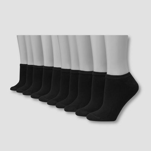 Hanes Women's 10pk No Show Socks - Black 5-9, Women's