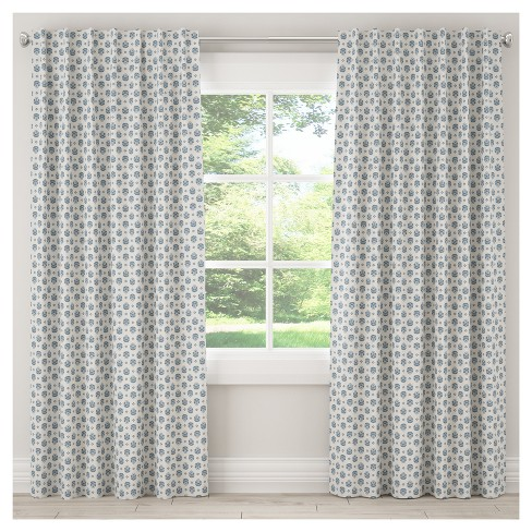 Unlined Small Block Floral Curtain Panel - Skyline Furniture® - image 1 of 5