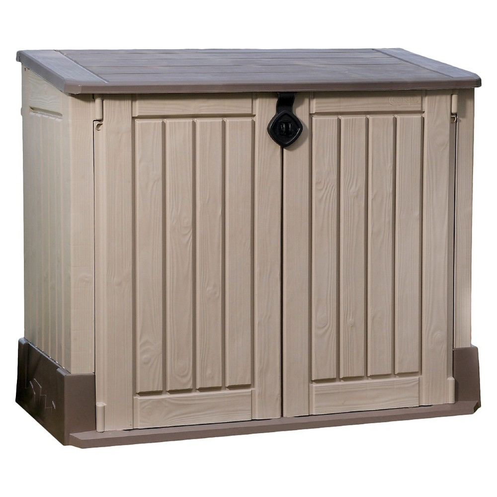 Store-It-Ot Midi Resin Horizontal Outdoor Storage Shed - Beige & Brown - Keter