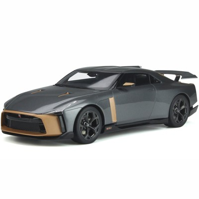 Nissan GT-R50 by Italdesign Gray Metallic and Gold 1/18 Model Car by GT Spirit