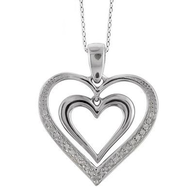 "1/10 CT.T.W Round-Cut White Diamond Pave Set Double Heart Pendant - White (18"")"