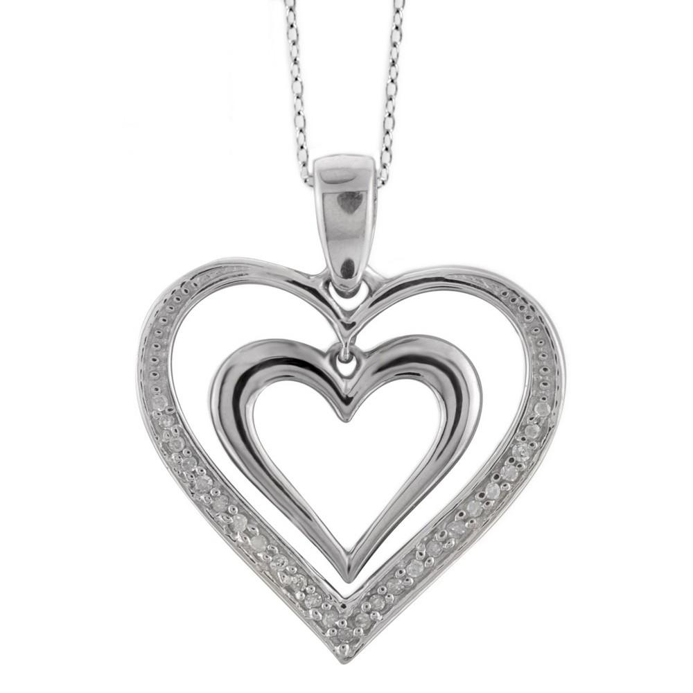 1/10 CT.T.W Round-Cut White Diamond Pave Set Double Heart Pendant - White (18), Girl's