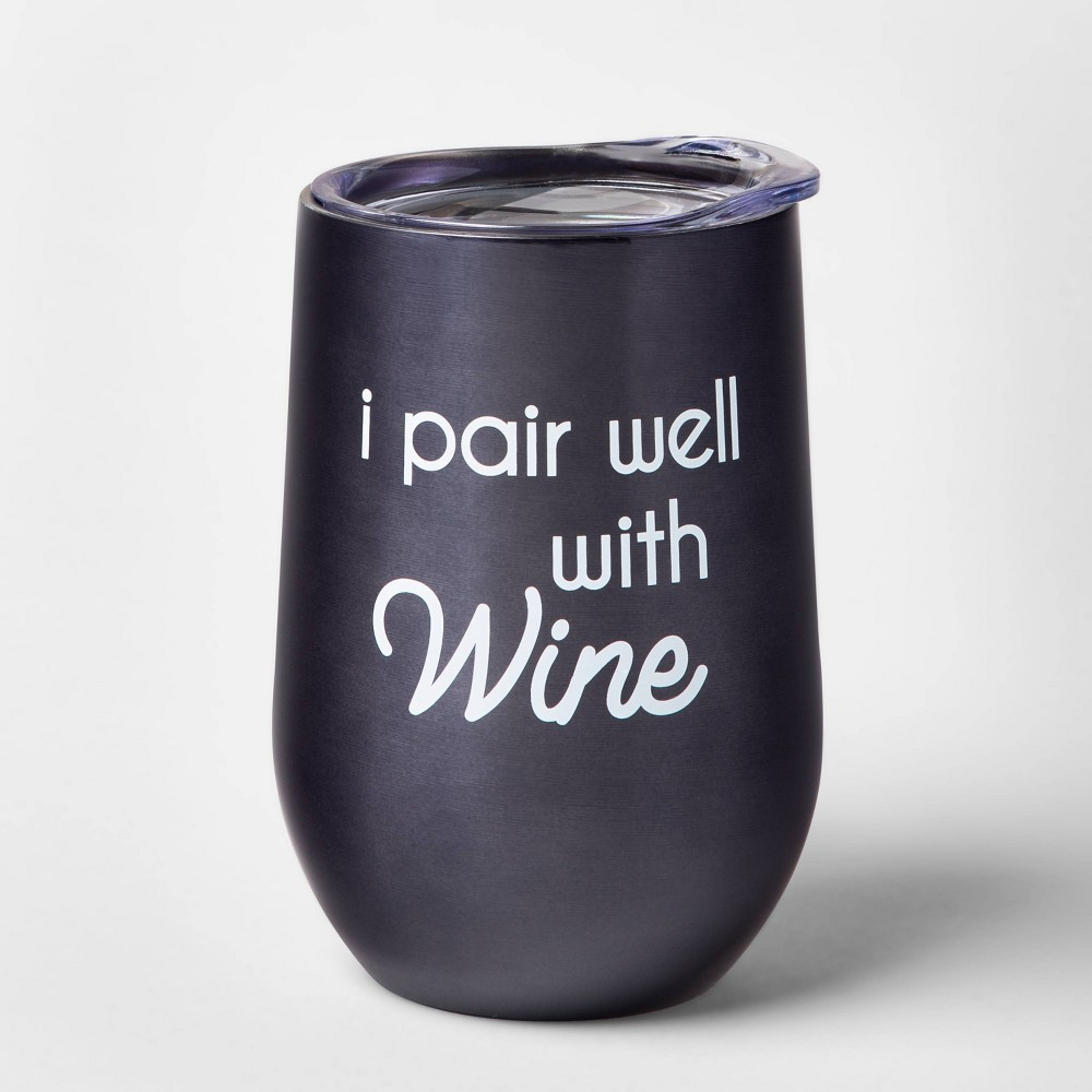 Image of 11oz Double Wall Stainless Steel I Pair Well With Wine Tumbler - Room Essentials , Blue