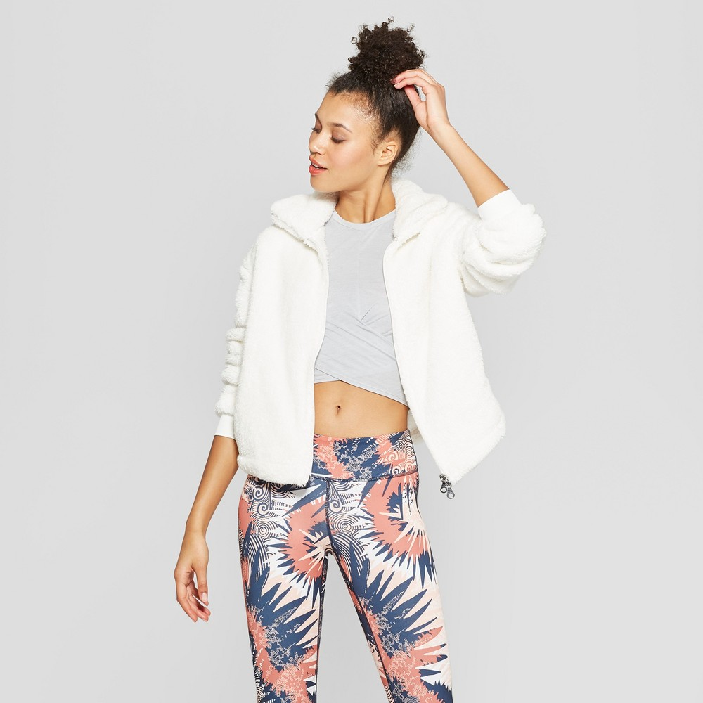 Women's Sherpa Full Zip Fleece Jackets - JoyLab Marshmallow Cream XL