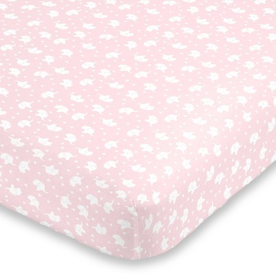 NoJo Super Soft Pink and White Elephant Fitted Mini Crib Sheet