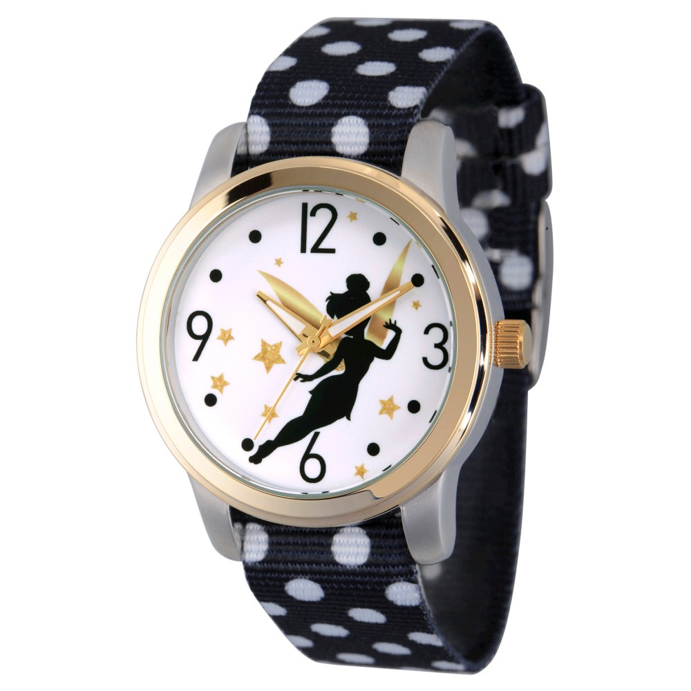 Women's Disney Watches - Black This black alloy watch comes with a quartz movement and analog time display display, making it a great addition to any wardrobe. This classic casual Disney Fairies timepiece has an analog time display. Gender: Female. Age Group: Adult. Pattern: Sports.