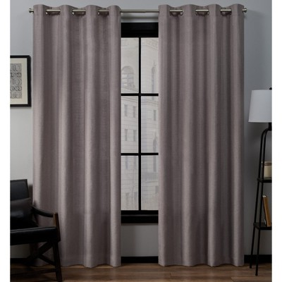 "Set of 2 (108""x54"") Loha Linen Grommet Top Light Filtering Curtain Panel Lavender - Exclusive Home"