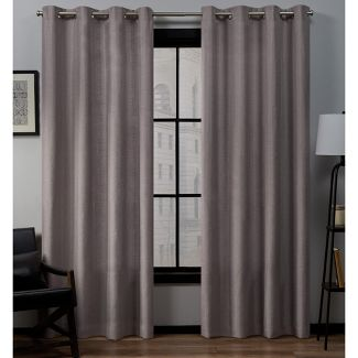 "Set of 2 (108""x54"") Loha Linen Grommet Top Light Filtering Curtain Panel Lavender - Exclusive Home"