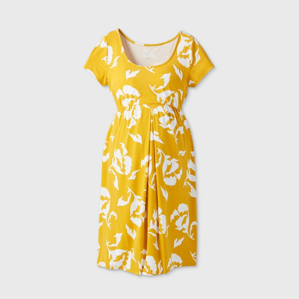 Maternity Floral Print Short Sleeve A-Line T-Shirt Dress - Isabel Maternity by Ingrid & Isabel Gold XL was $24.99 now $10.0 (60.0% off)