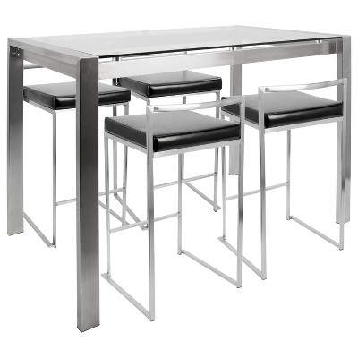Fuji Contemporary Counter Height Dining Set   Black   Lumisource