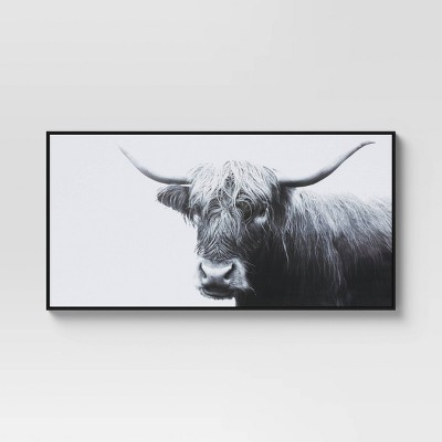 "47"" x 24"" Highland Cow Framed Canvas - Threshold™"