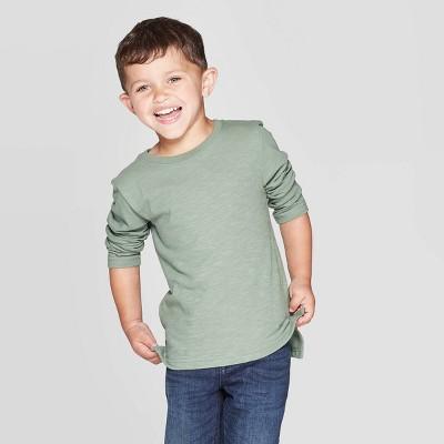 Toddler Boys' Slub Jersey Long Sleeve T-Shirt - Cat & Jack™ Olive 12M