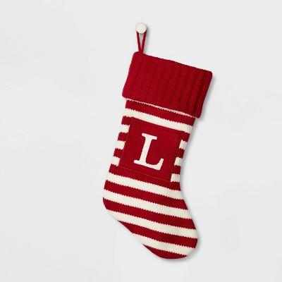 Knit Striped Monogram Christmas Stocking L - Wondershop™