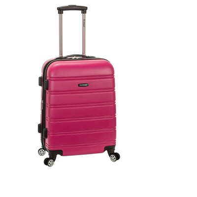 "Rockland Melbourne 20"" Expandable ABS Carry On Spinner Suitcase - Magenta"