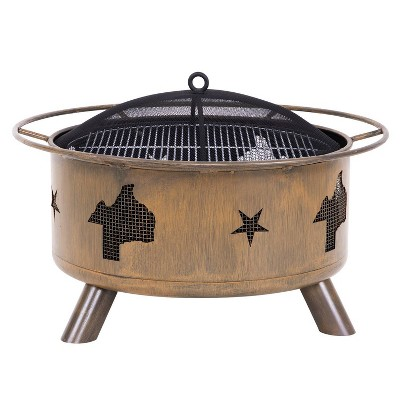 """30"""" Wood Burning Fire Pit with Cover - Brown - Nuu Garden"""