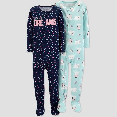 Baby Girls' Dot Penguin Poly Pajama Set - Just One You® made by carter's Black 12M