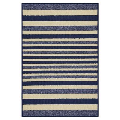 "2'X3'4"" Stripes Washable Doormat Blue - Maples"