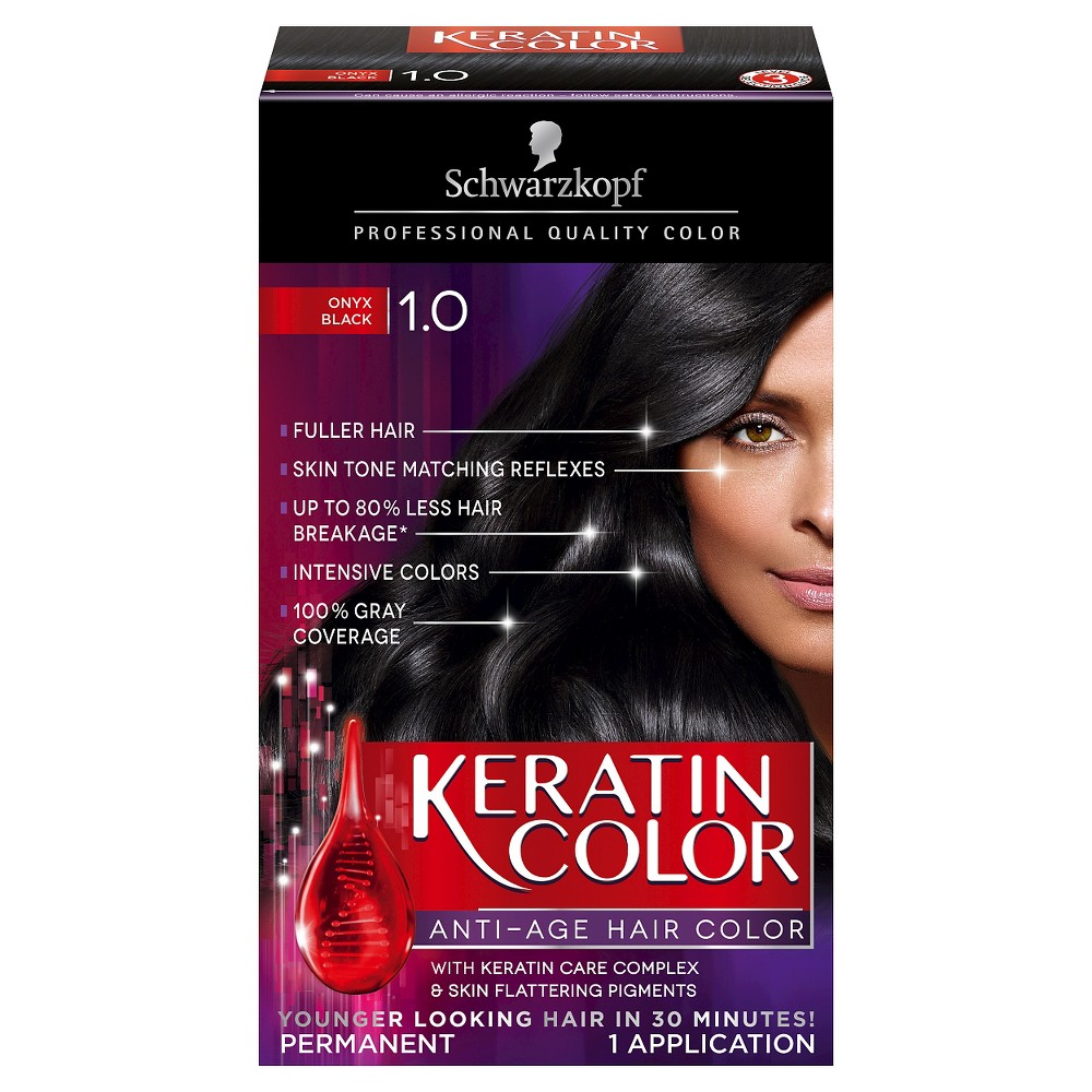 Image of Schwarzkopf Keratin Color Anti-Age Hair Color - 2.03 fl oz - 1.0 Onyx Black, 1.0 Black Black