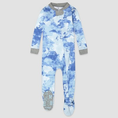Honest Baby Boys' Tie-Dye Snug Fit Footed Pajama - Blue 12M