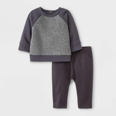 Grayson Mini Baby Boys' Quilted Raglan Top & Bottom Set - Charcoal Gray