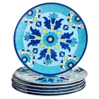 Certified International Granada by Jennifer Brinley Melamine Dinner Plates 11  Blue - Set of 6