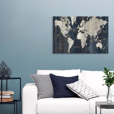 Old World Map by Wild Apple Portfolio Unframed Canvas Print Navy - iCanvas