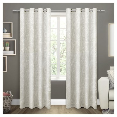"""84""""x54"""" Twig Insulated Woven Blackout Grommet Top Window Curtain Panel Vanilla - Exclusive Home"""