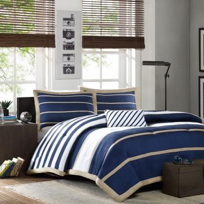 Navy Cody Comforter Set Bold Stripe Full/Queen 4pc