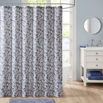 Tallie Printed Cotton Shower Curtain Blue