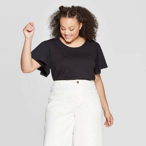 4a4e3586cd5ee2 Women's Plus Size Puff Short Sleeve Scoop Neck Top - Who What Wear™ Jet  Black 3X : Target