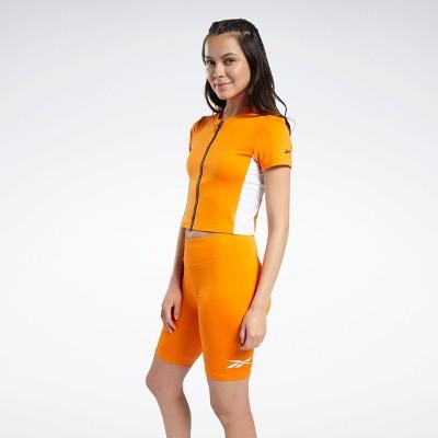 Reebok MYT Zip Crop Top Womens Athletic T-Shirts