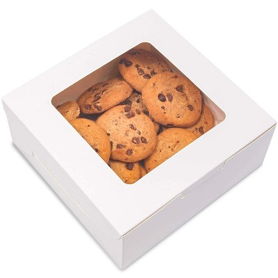 """Juvale 50 Pack Paper Pastry Box Take Out Containers with Window for Bakery Cookie Cupcake Dessert, 6""""x6""""x2.5"""", White"""