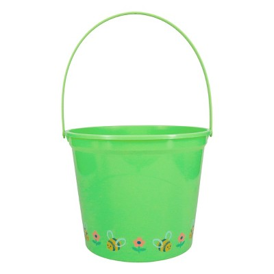 Jumbo Plastic Easter Bucket Printed Boarder with Stickers Green - Spritz™